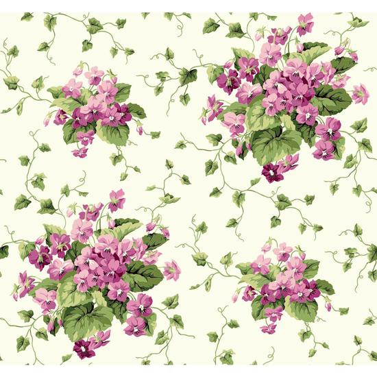 Waverly Cottage Sweet Violets Wallpaper ER8101