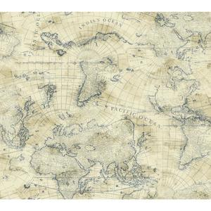 Coastal Map Wallpaper NY4837
