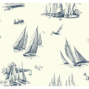 Sailboat Toile Wallpaper NY4926