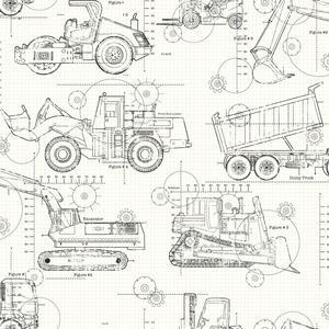 Construction Blueprint Wallpaper KS2349