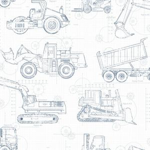 Construction Blueprint Wallpaper KS2350