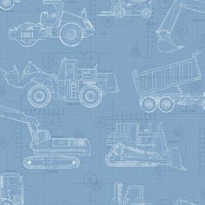 Construction Blueprint Wallpaper KS2352