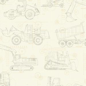 Construction Blueprint Wallpaper KS2354