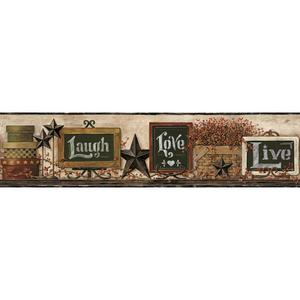 Country Chalkboard Shelf Border Wallpaper AC4404BD