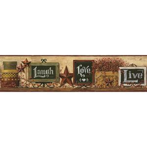Country Chalkboard Shelf Border Wallpaper AC4405BD