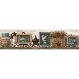 Country Chalkboard Shelf Border Wallpaper AC4406BD