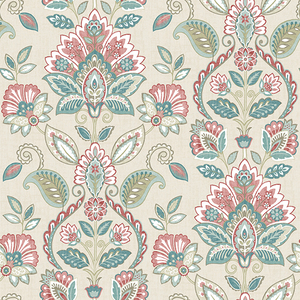 Rayleigh Coral Floral Damask Wallpaper