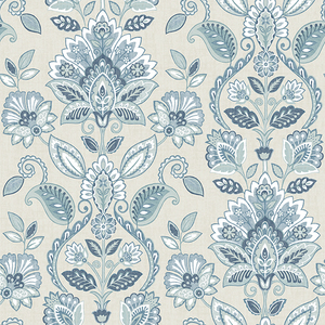 Rayleigh Blue Floral Damask Wallpaper