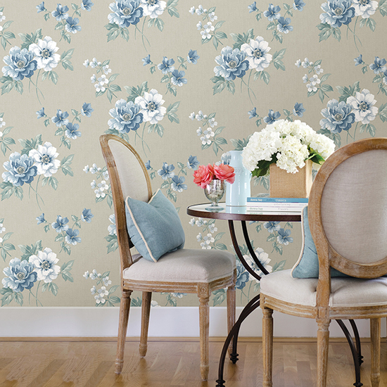 Keighley Light Blue Floral Wallpaper