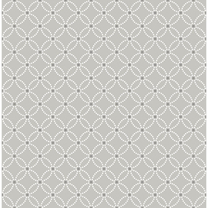 Kinetic Grey Geometric Floral Wallpaper