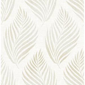 Patrice Beige Linen Leaf Wallpaper