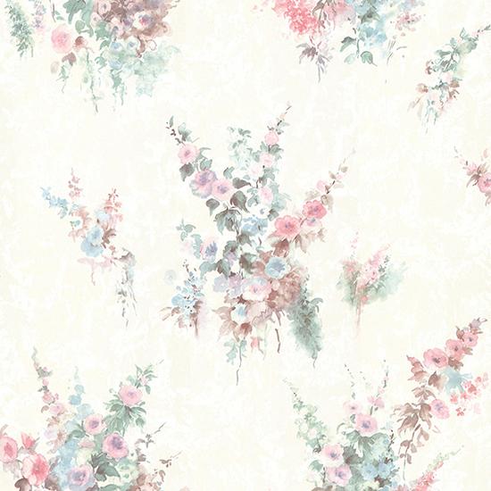 Quinn Pink Bouquet Floral Wallpaper