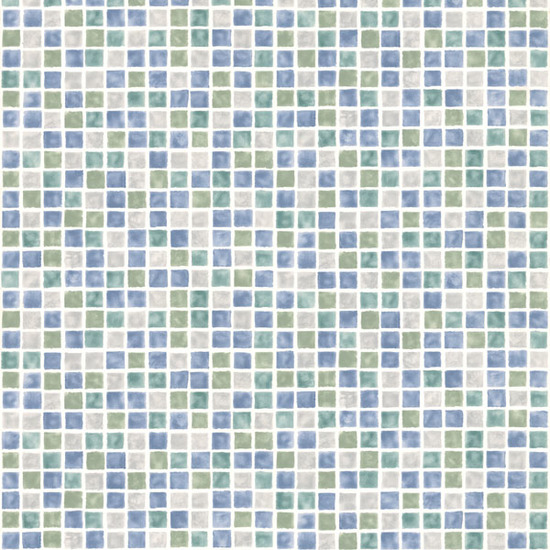 Harbor Blue Sea Glass Tiles Wallpaper