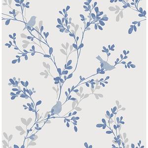 Chirp Blue Birds & Trees Wallpaper