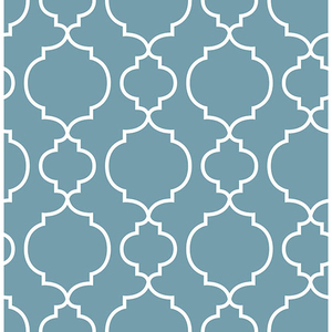 Desiree Blueberry Quatrefoil Wallpaper