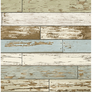Levi Blue Scrap Wood Wallpaper