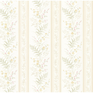 Bell Beige Wildflower Stripe Wallpaper