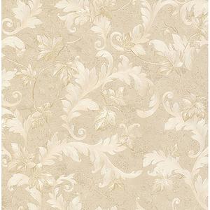Dimitri Beige Scroll Wallpaper