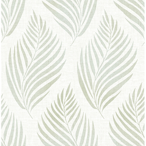 Patrice Green Linen Leaf Wallpaper