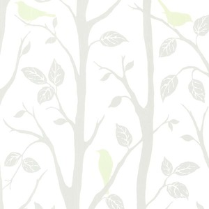 Corwin Light Green Bird Branches Wallpaper