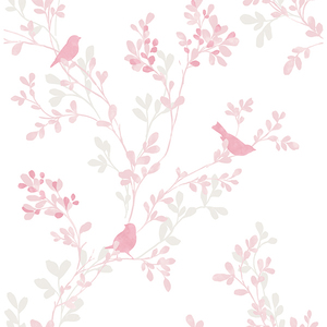 Chirp Pink Birds & Trees Wallpaper