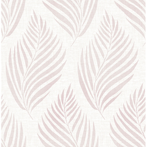 Patrice Pink Linen Leaf Wallpaper