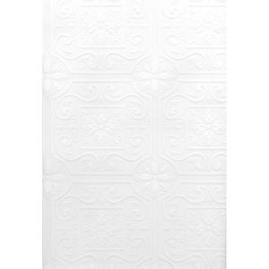 Talavera White Flower Tile Paintable Wallpaper