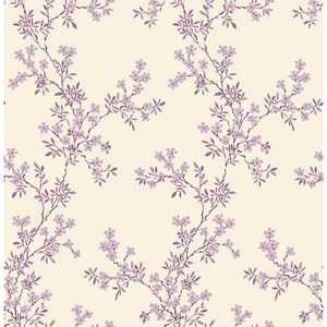Claire Purple Floral Trail Wallpaper