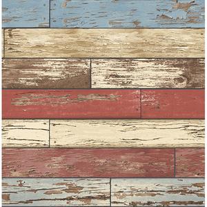 Levi Red Scrap Wood Wallpaper