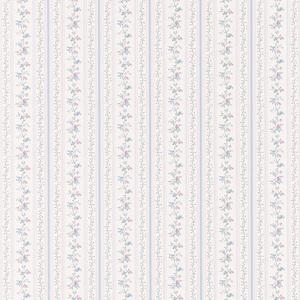 Ermes Blue Delicate Floral Pinstripe Wallpaper