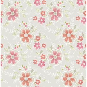 Chloe Peach Floral Wallpaper