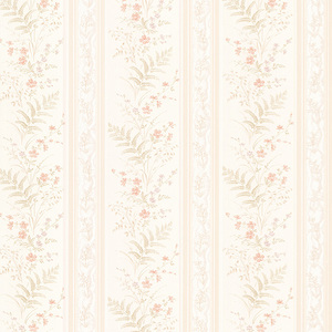 Bell Peach Wildflower Stripe Wallpaper