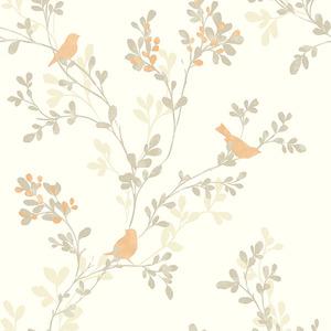 Chirp Orange Birds & Trees Wallpaper