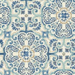 Florentine Blue Tile Wallpaper