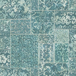 Esma Teal Vintage Carpet Wallpaper