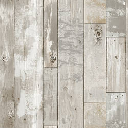 Deena Grey Distressed Wood Wallpaper