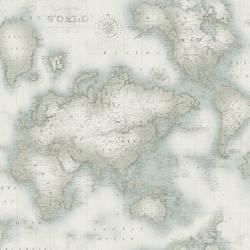Mercator Aqua World Map Wallpaper