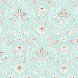 Island Turquoise Damask Wallpaper