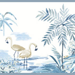 Lagoon Blue Watercolor Border