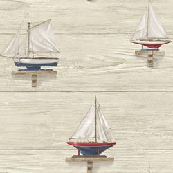 Set Sail Beige Wood Wallpaper