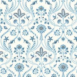 Island Blue Damask Wallpaper