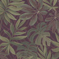 Nocturnum Maroon Leaf Wallpaper