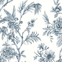 Jessamine Blue Floral Trail Wallpaper
