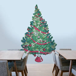 Vintage Christmas Tree - Christmas Wall Decal